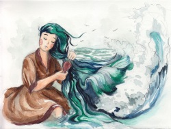 Sea in Your Hair - Watercolor on Paper