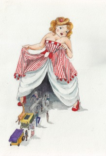 Her Circus - Watercolor on Paper