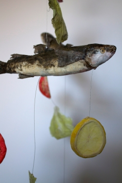 Fish Dinner Mobile, Papier mâché collage with watercolor