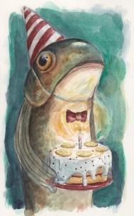 Birthday Fish I, Watercolour, 2014